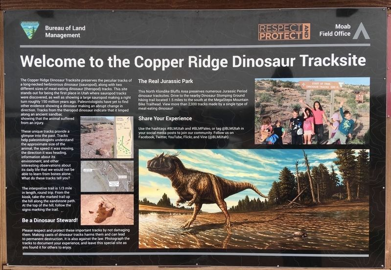 Copper Ridge Dinosaur Tracksite Marker image. Click for full size.