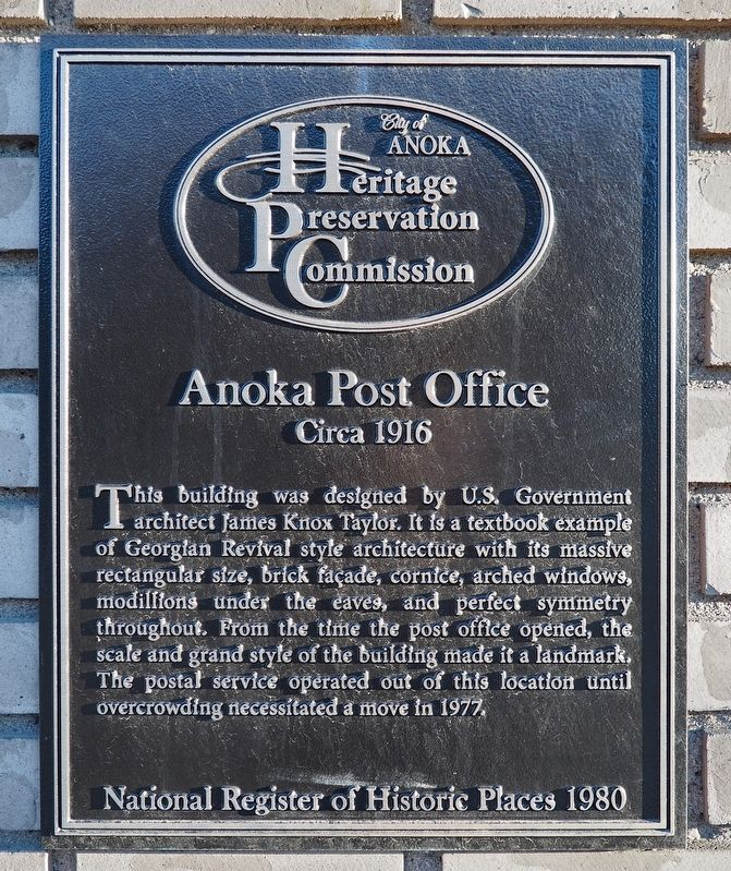Anoka Post Office marker image. Click for full size.