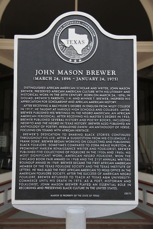 John Mason Brewer Marker image. Click for full size.