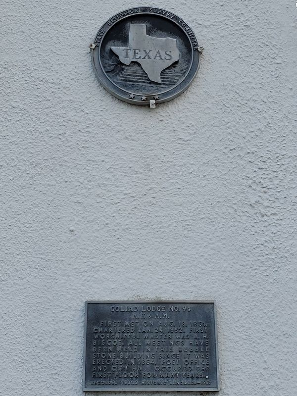 Goliad Lodge No. 94 A.F. & A.M. Marker image. Click for full size.