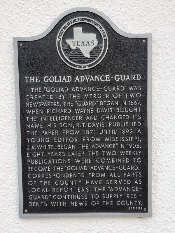 The Goliad Advance-Guard Marker image. Click for full size.