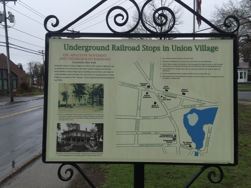 Underground Railroad Stops in Union Village Marker image. Click for full size.