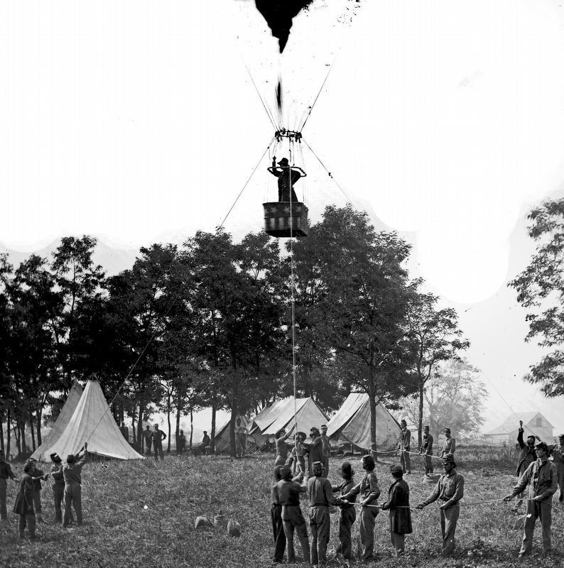 Thaddeus S. Lowe observing the battle of Fair Oaks from his balloon <i>Intrepid</i> May 31, 1862 image. Click for full size.