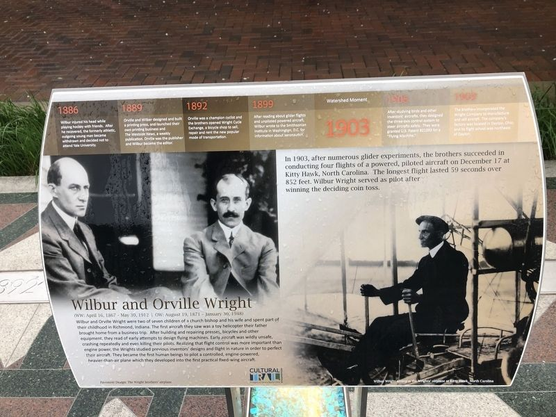 Wilbur and Orville Wright Marker image. Click for full size.