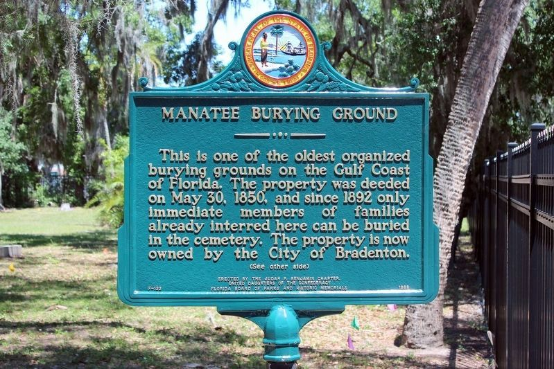 Restored Manatee Burying Ground Marker-Side 1 image. Click for full size.
