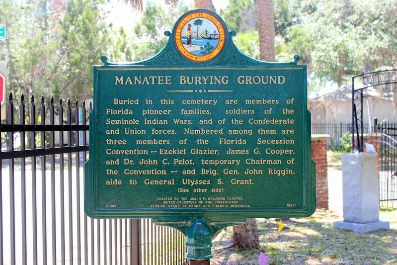 Restored Manatee Burying Ground Marker-Side 2 image. Click for full size.