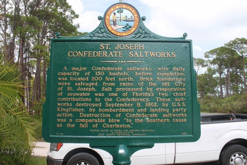 Restored St. Joseph Confederate Saltworks Marker image. Click for full size.