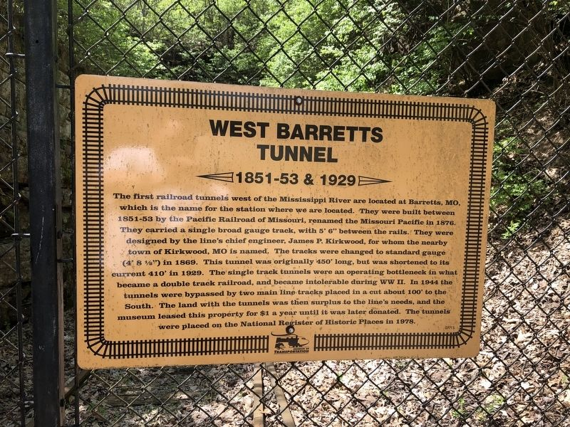 West Barretts Tunnel Marker image. Click for full size.