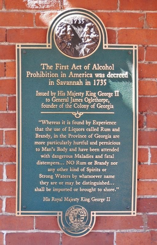 The First Act of Alcohol Prohibition in America Marker image. Click for full size.