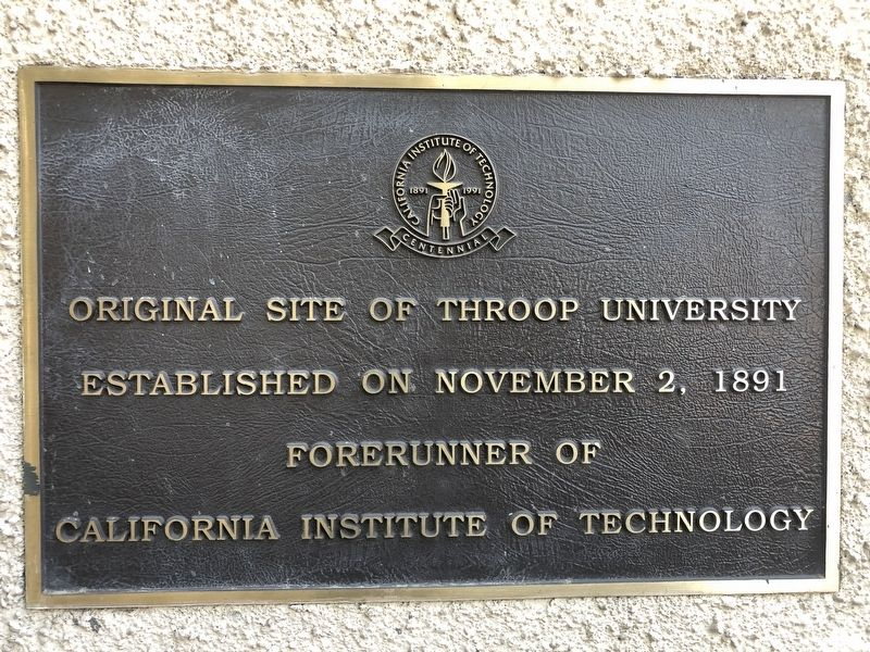 Original Site of Throop University Marker image. Click for full size.