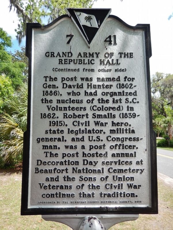 Grand Army of the Republic Hall Marker<br>(<i>side 2 • faces south • hall on left</i>) image. Click for full size.