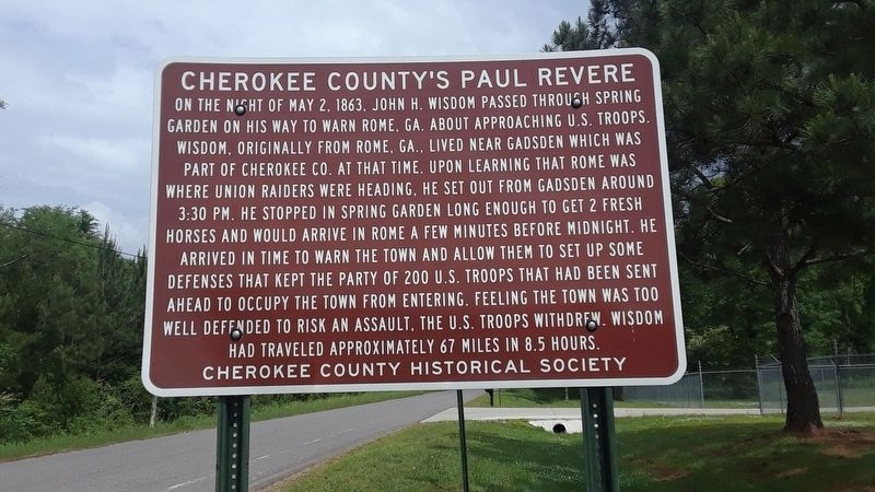 Cherokee County's Paul Revere Marker image. Click for full size.