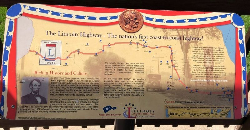 The Lincoln Highway - The nation's first coast-to-coast highway! Marker image. Click for full size.