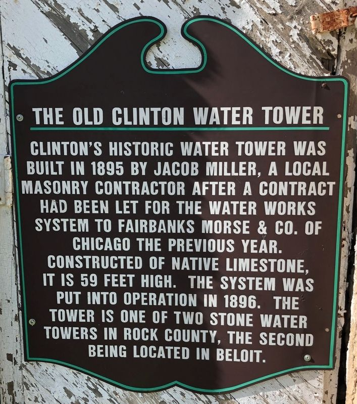 The Old Clinton Water Tower Marker image. Click for full size.