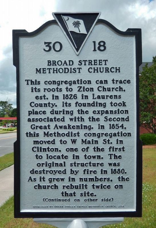 Broad Street Methodist Church Marker (<i>side 1</i>) image. Click for full size.