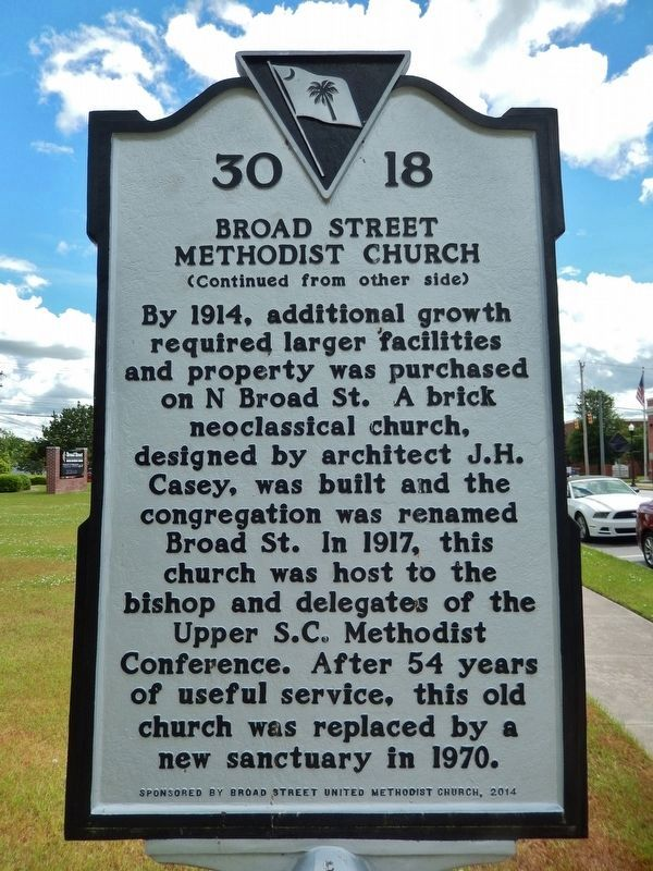 Broad Street Methodist Church Marker<br>(<i>side 2</i>) image. Click for full size.