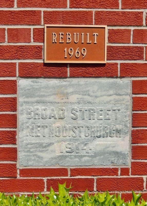 Broad Street Methodist Church Cornerstone image. Click for full size.