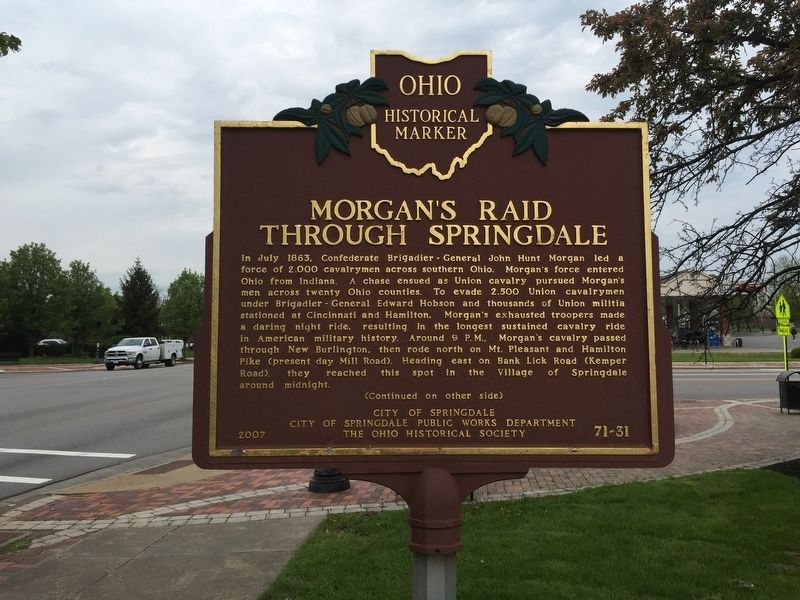 Morgan's Raid Through Springdale Marker image. Click for full size.