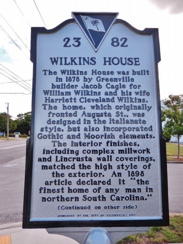 Wilkins House Marker<br>(<i>side 1 • faces south • house right of marker</i>) image. Click for full size.