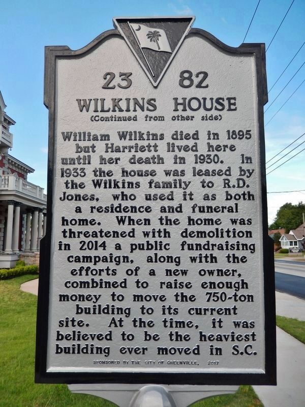 Wilkins House Marker <br>(<i>side 2 • faces north • house is left of marker</i>) image. Click for full size.