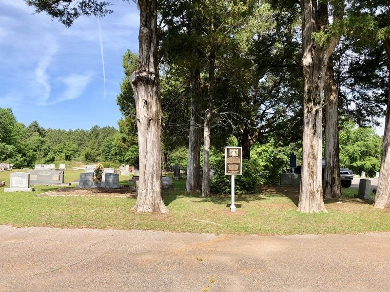 Battle at Ebenezer Baptist Church Marker under cedar trees at the cemetery. image. Click for full size.