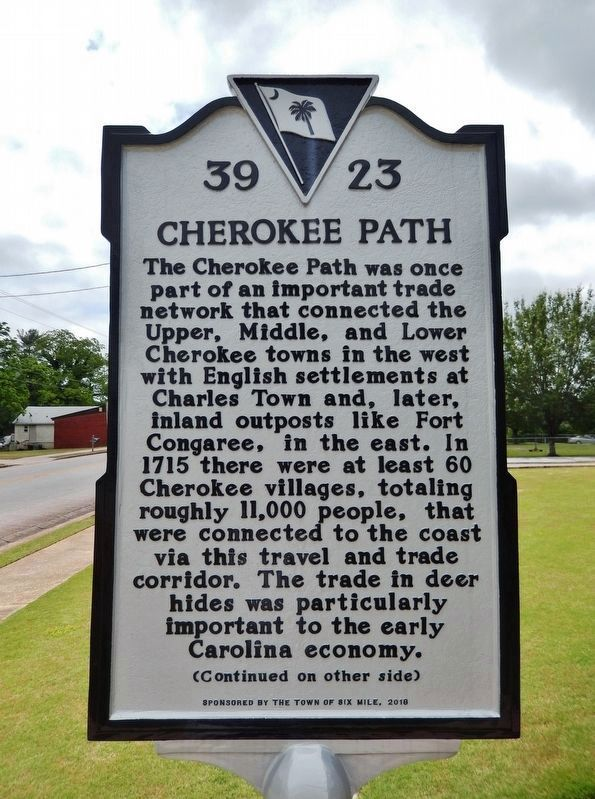 Cherokee Path Marker<br>(<i>side 1 • faces north • Town Hall right of marker</i>) image. Click for full size.