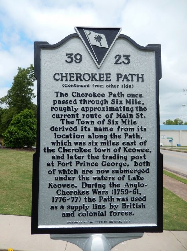 Cherokee Path Marker<br>(<i>side 2 • faces south • Town Hall left of marker</i>) image. Click for full size.