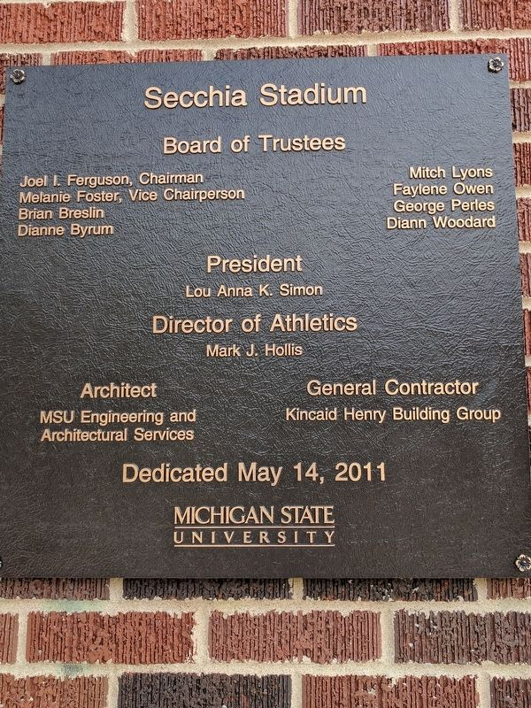 Secchia Stadium Marker image. Click for full size.