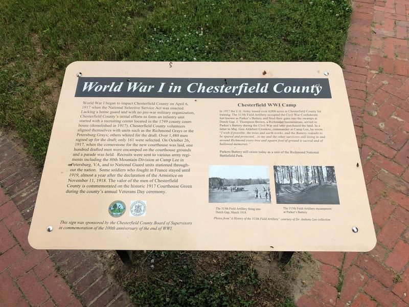 World War I in Chesterfield County Marker image. Click for full size.