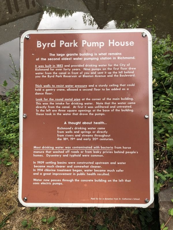 Byrd Park Pump House Marker image. Click for full size.