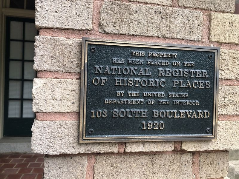 103 South Boulevard Marker image. Click for full size.