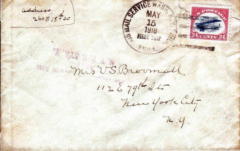 This Envelope Flew on the First Airmail Flight from Washington image. Click for full size.