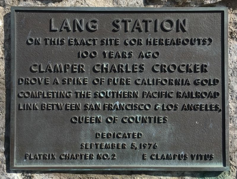 Lang Station Marker image. Click for full size.