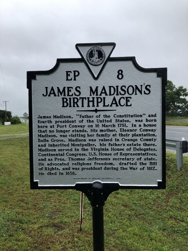 James Madison's Birthplace Marker image. Click for full size.