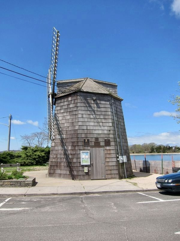 Windmill Replica Marker - wide view, Wharf Street side image. Click for full size.
