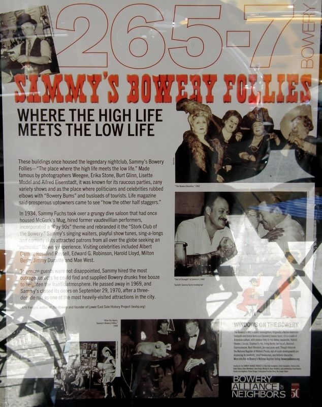 Sammy's Bowery Follies Marker image. Click for full size.