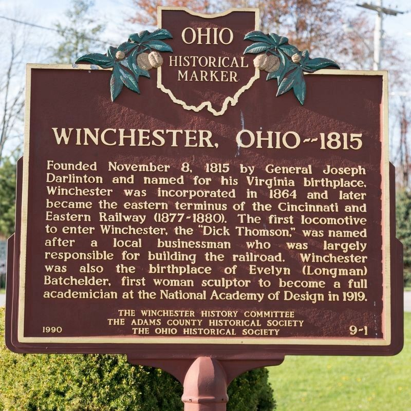 Winchester Ohio face of marker image. Click for full size.