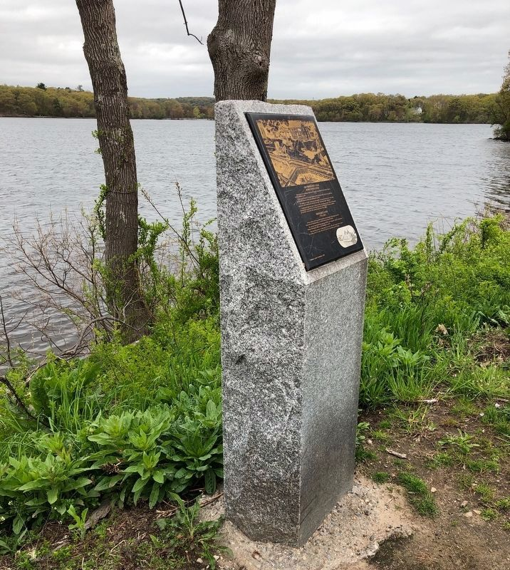 Old Middlesex Canal Marker on Horn Pond. image. Click for full size.