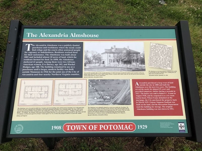 The Alexandria Almshouse Marker image. Click for full size.