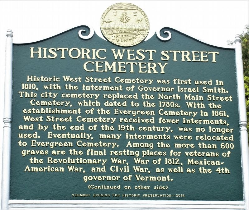 Historical West Street Cemetery Marker image. Click for full size.