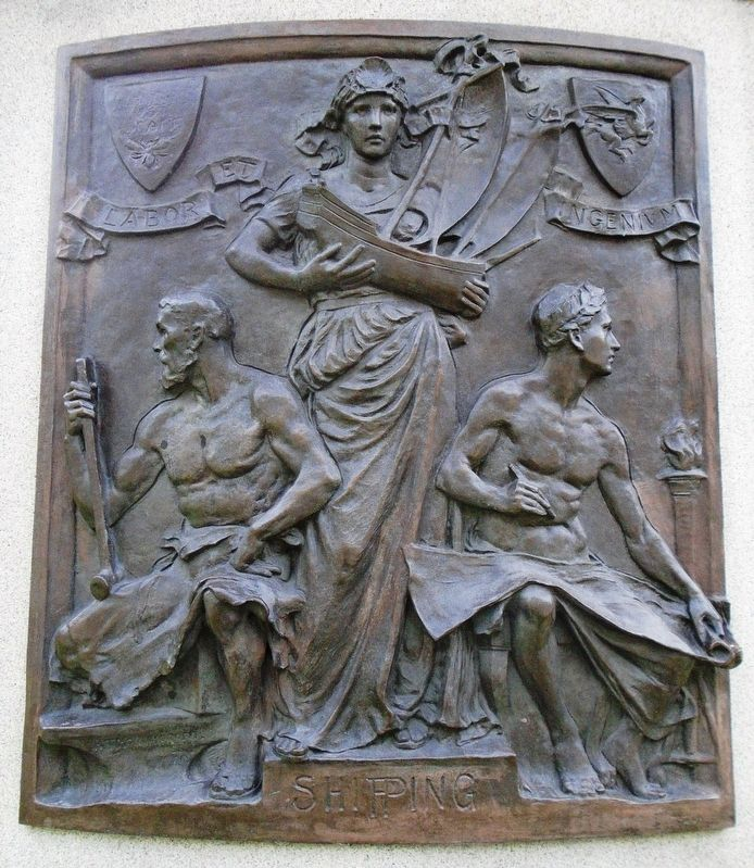Sir Daniel Dixon Monument - Shipping bas relief image. Click for full size.