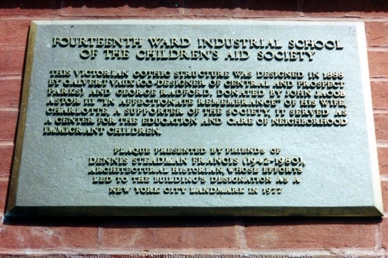 Fourteenth Ward Industrial School of the Children's Aid Society Marker image. Click for full size.