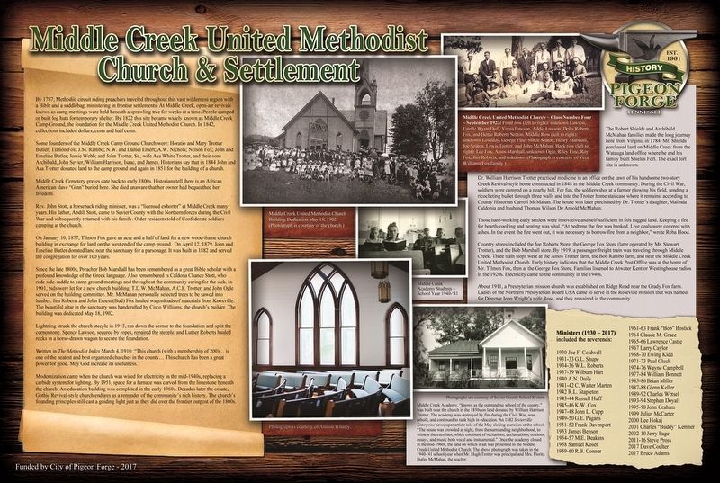 Middle Creek United Methodist Church & Settlement Marker image. Click for full size.