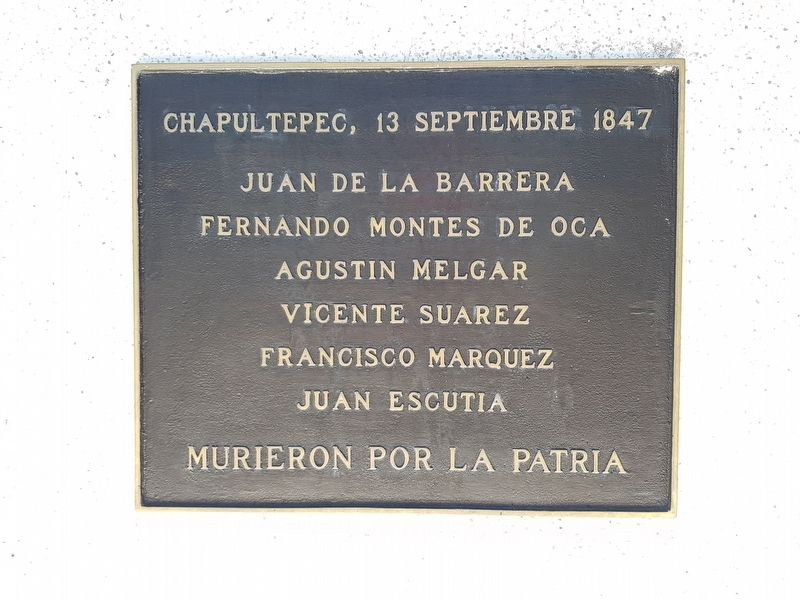 The additional marker to the Children Heroes of Chapultepec of 1847 image. Click for full size.