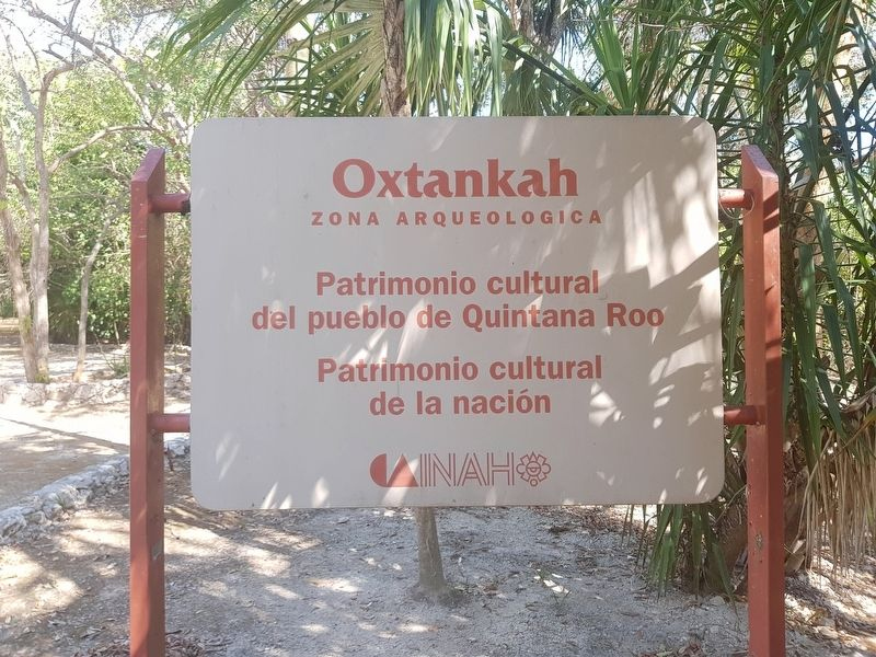The Oxtankah Archaeological Site Entry Sign image. Click for full size.