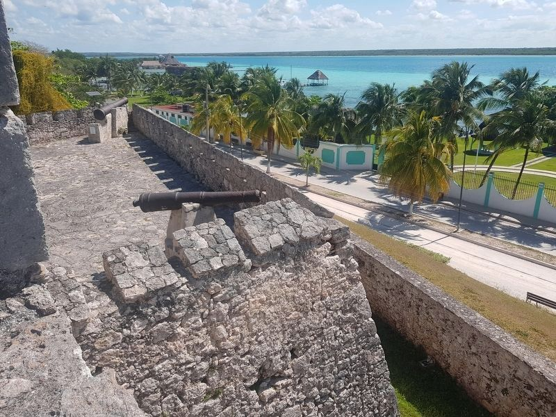 An interior view of the northeast bastion of San Felipe Fort and Lake Bacalar image. Click for full size.