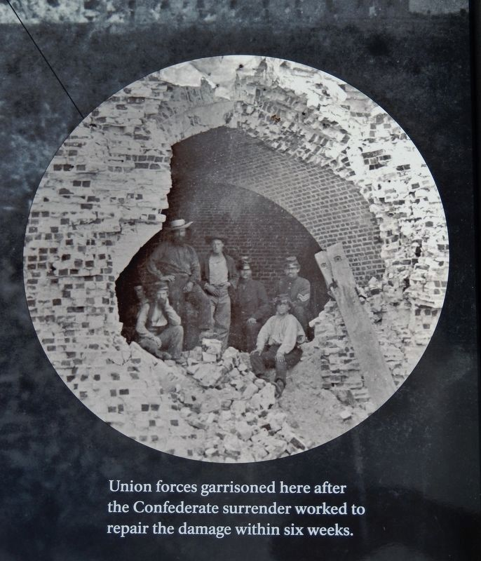 Marker detail: Union forces garrisoned here after Confederate surrender worked to repair the damage image. Click for full size.