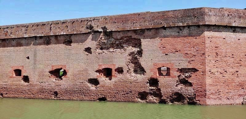 Fort Pulaski South Wall Damage & Moat<br>(<i>view from near marker</i>) image. Click for full size.