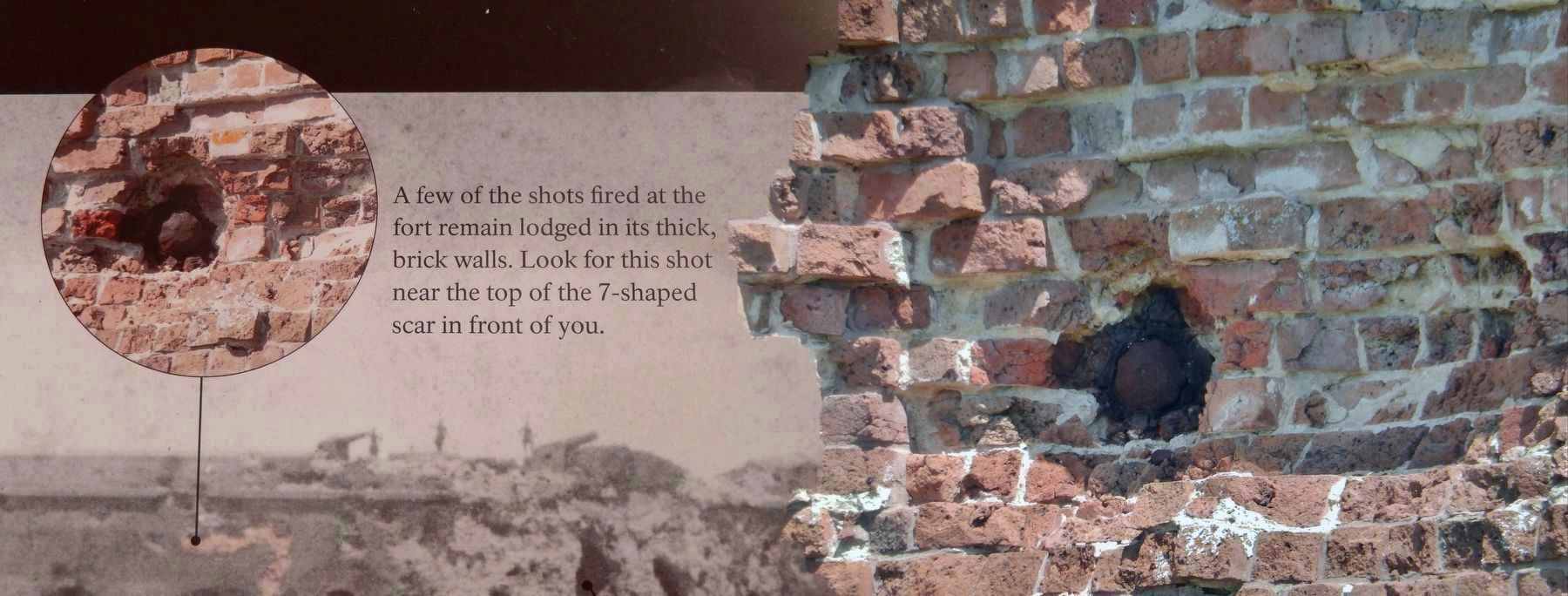 Fort Pulaski South Wall Embedded Cannonball<br>(<i>marker detail left • closeup photo right</i>) image. Click for full size.