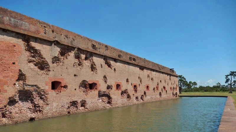 Fort Pulaski East Wall Damage & Moat image. Click for full size.